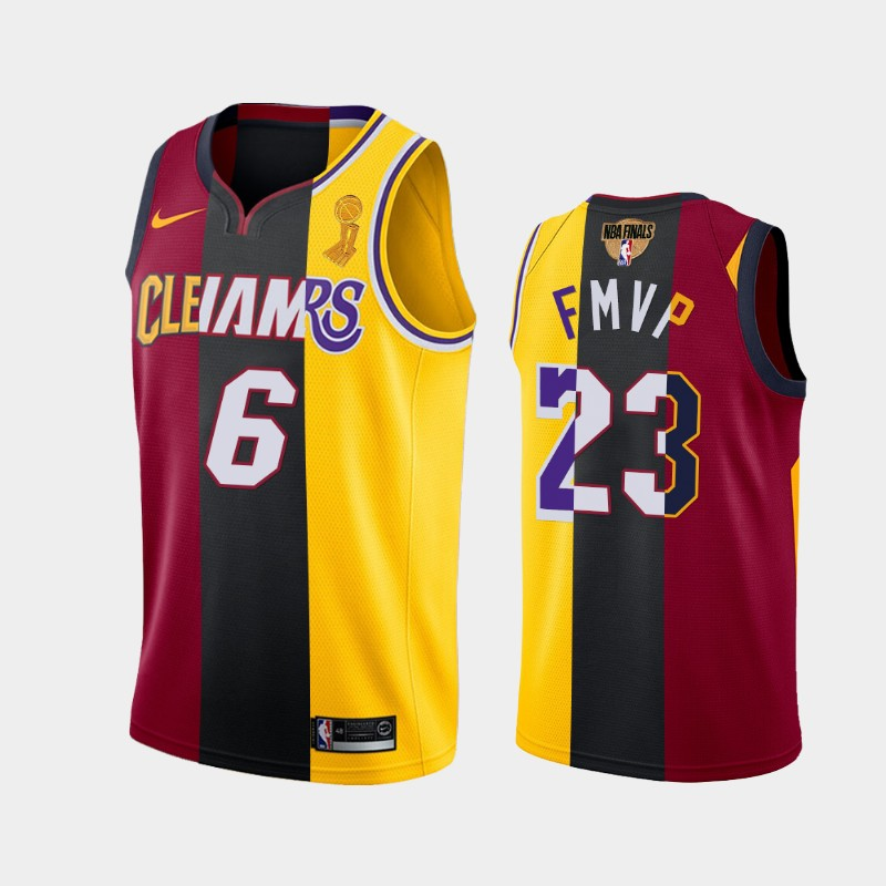LeBron James Lakers 2020 FMVP Red Gold Dual Number Heat Cavaliers Split Jersey