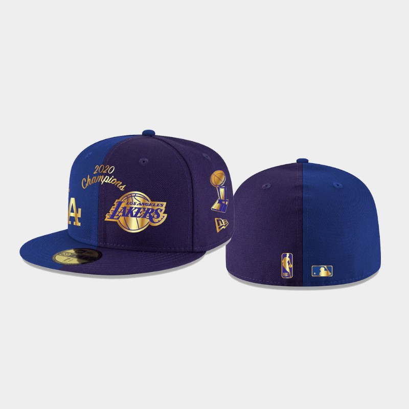 Lakers 2020 Dual Champions Royal Purple 59FIFTY Fitted Split Hat