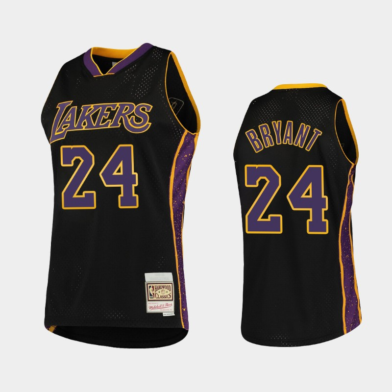 Los Angeles Lakers Kobe Bryant Rings Collection Black Hardwood Classics Jersey