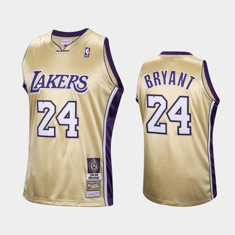 Los Angeles Lakers Kobe Bryant Hall of Fame Class of 2020 Gold Hardwood Classics Throwback Jersey
