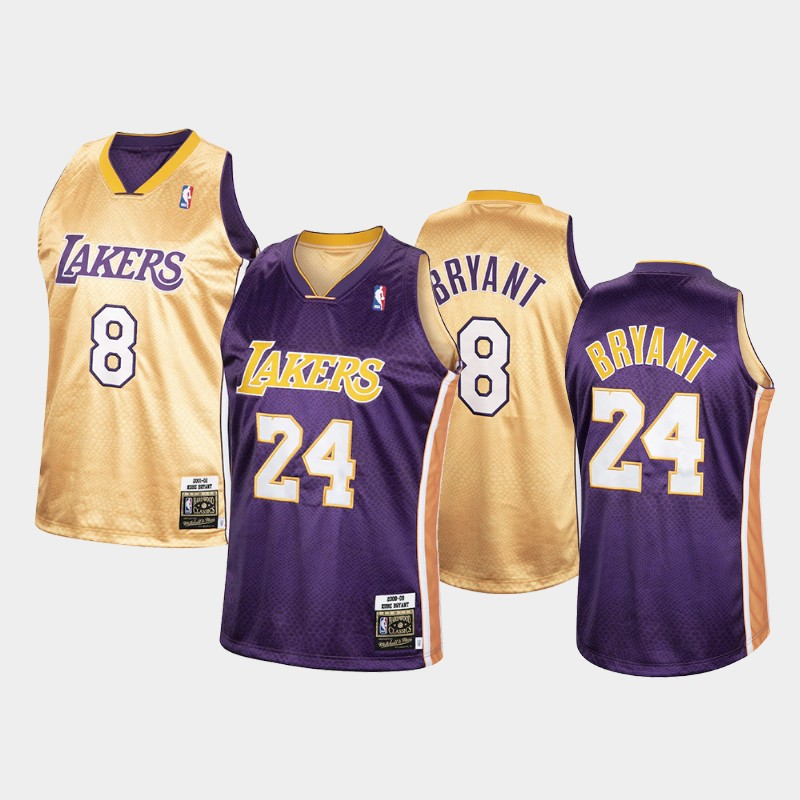 Los Angeles Lakers Kobe Bryant Authentic Reversible Purple Gold Special Edition Jersey