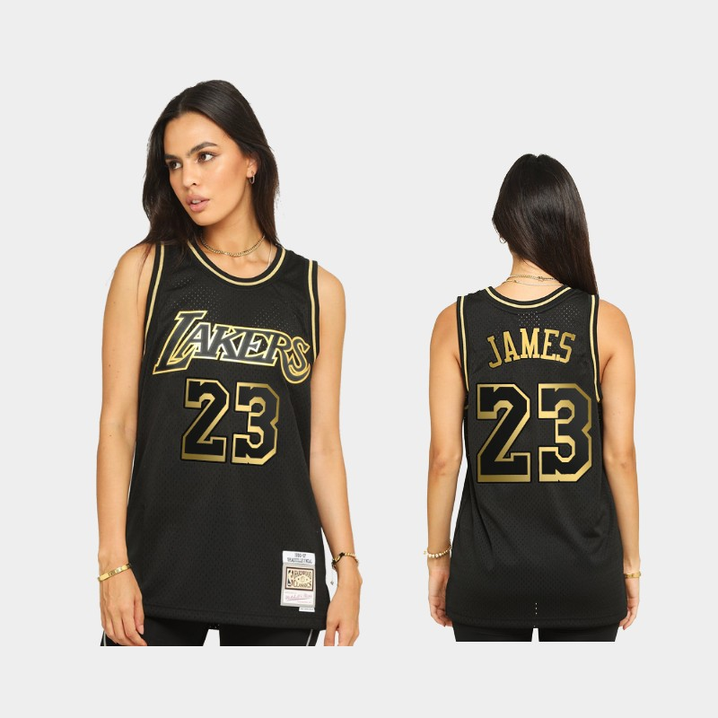 Los Angeles Lakers LeBron James 2021 Golden Edition Black Limited Allocation Hardwood Classics Jersey