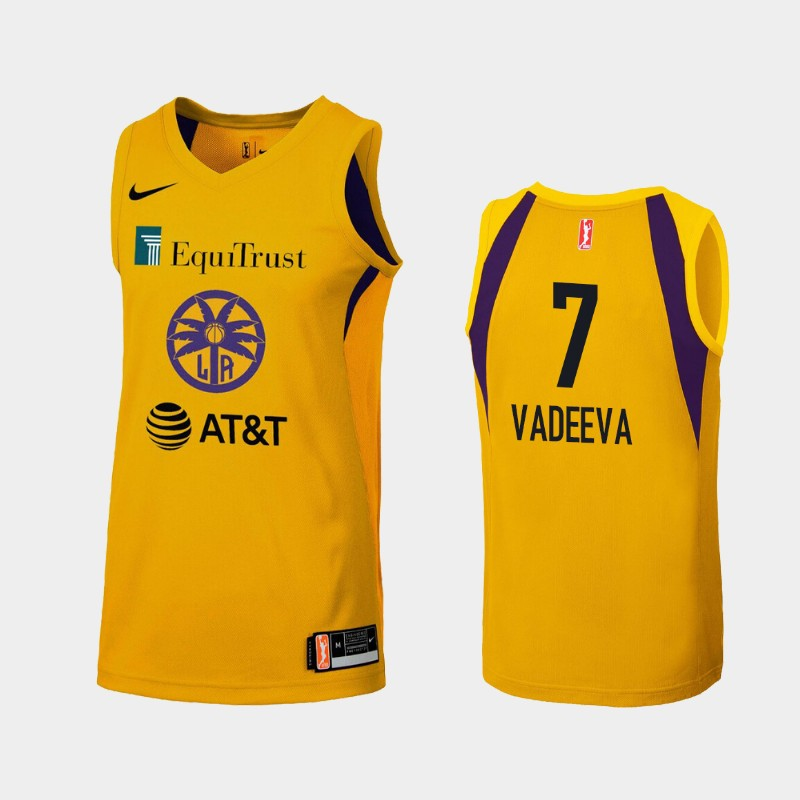 WNBA Los Angeles Sparks Maria Vadeeva Yellow 2019 Primary Icon Jersey