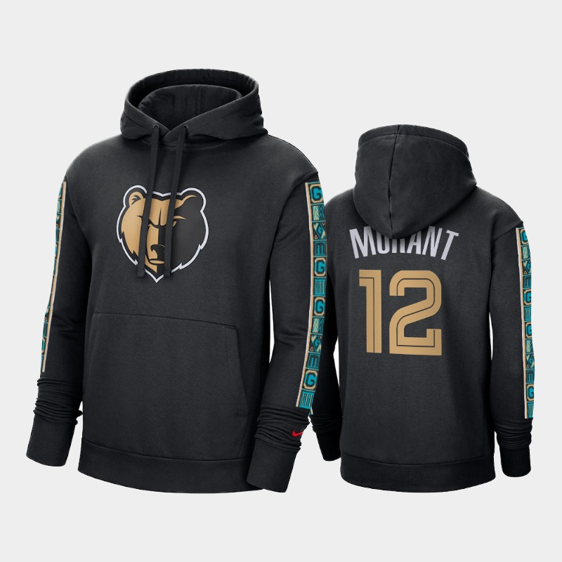 Memphis Grizzlies Ja Morant 2020-21 Black City Edition Hoodie - Throwback Pullover