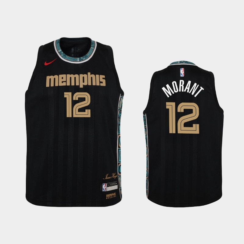 Youth 2020-21 Grizzlies Ja Morant City Black Jersey