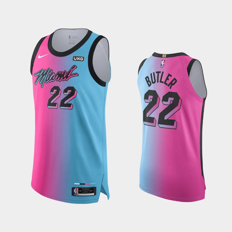 2020-21 Viceversa Authentic Miami Heat Jimmy Butler City Edition Jersey Blue Pink