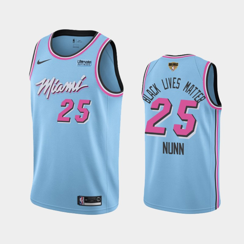 Kendrick Nunn Heat 2020 NBA Finals Bound Blue Vice Night City Black Lives Matter Jersey