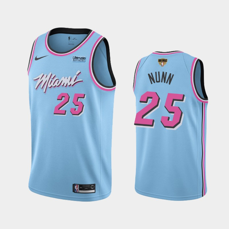 Kendrick Nunn Heat 2020 NBA Finals Bound Blue Vice Night City Jersey