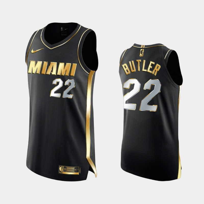 Limited Edition Miami Heat Jimmy Butler Authentic Golden Jersey - Black