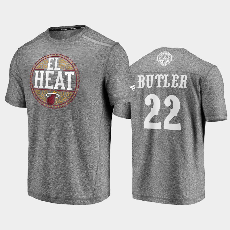 Heat Jimmy Butler 2020 Latin Nights Heathered Gray Noches Ene-Be-A T-Shirt