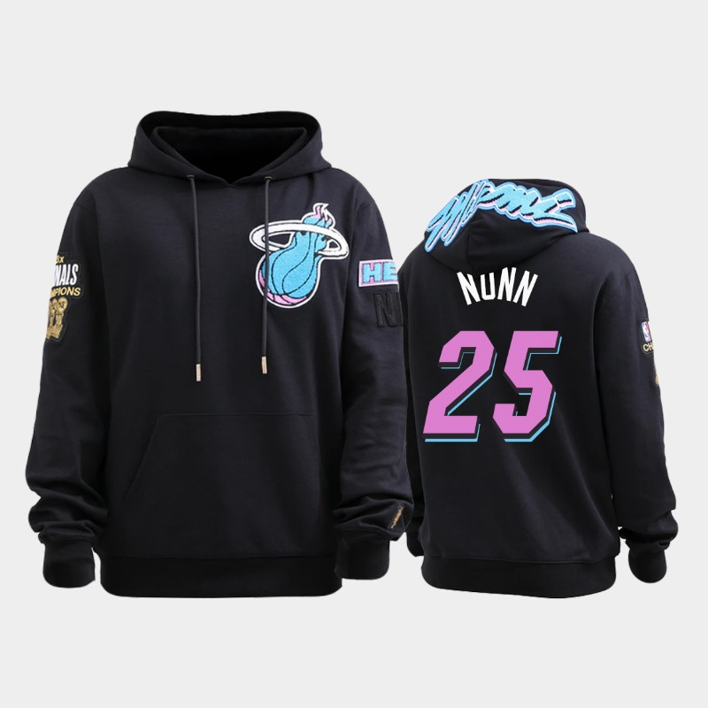 Miami Heat #25 Kendrick Nunn ViceWave Black Three-time NBA Champion Pullover Hoodie