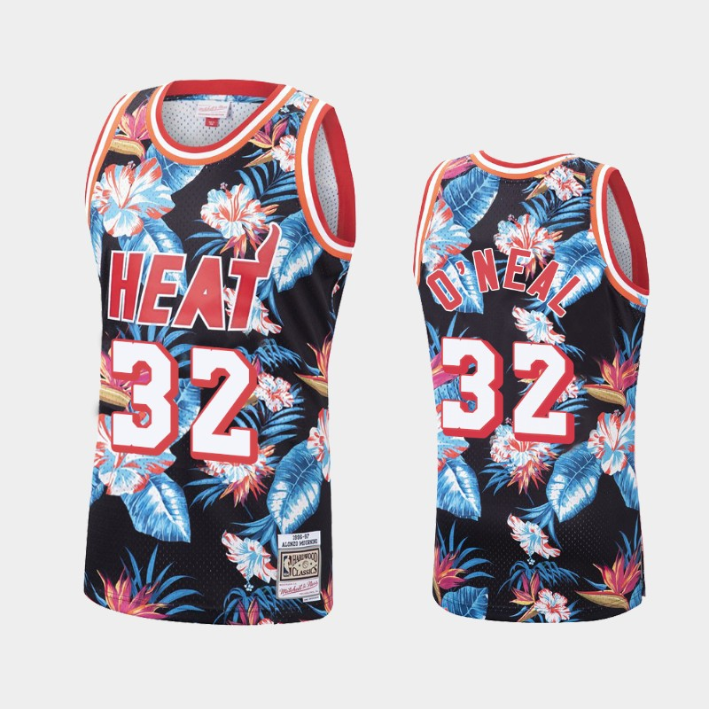 Shaquille O'Neal Miami Heat Floral Fashion Tropical Jersey - Black
