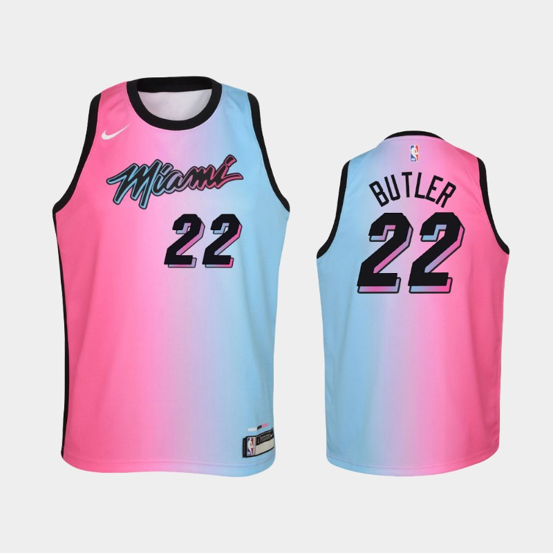 Youth 2020-21 Heat Jimmy Butler City Pink Blue Jersey