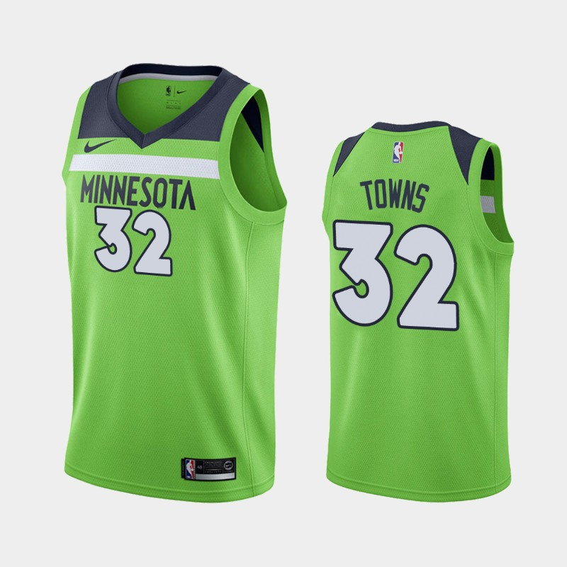 Minnesota Timberwolves Karl-Anthony Towns Green Jersey - Statement