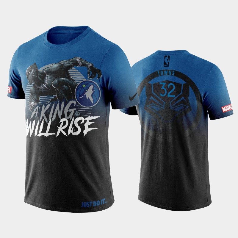 Minnesota Timberwolves Karl-Anthony Towns Marvel Black Panther Blue T-shirt