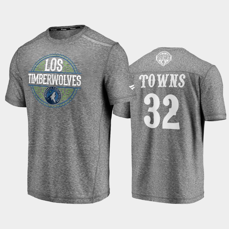 Timberwolves Karl-Anthony Towns 2020 Latin Nights Heathered Gray Noches Ene-Be-A T-Shirt