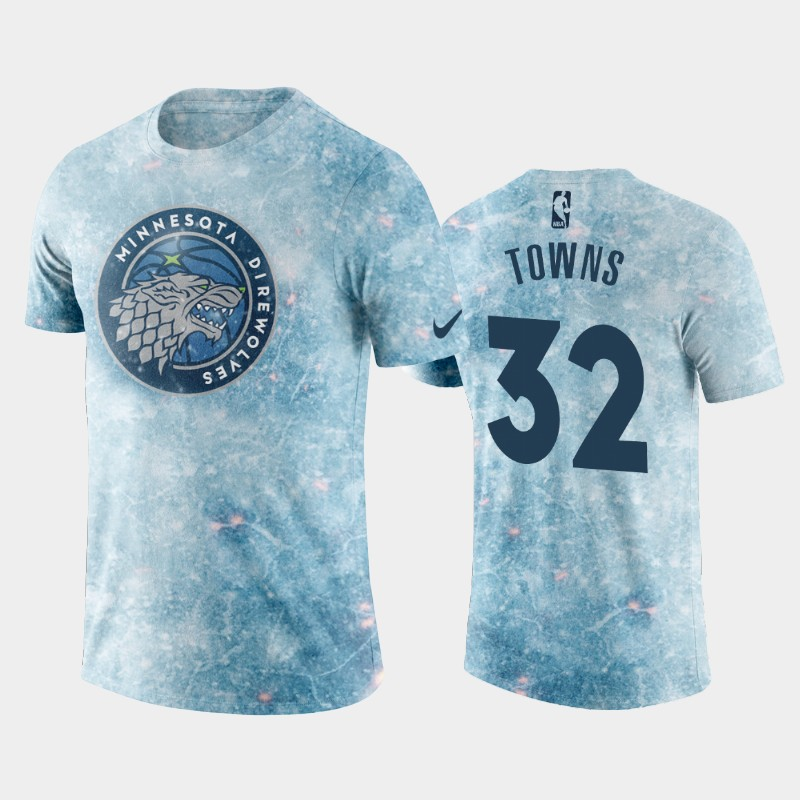 Minnesota Timberwolves Karl-Anthony Towns Direwolves Logo Ice Blue T-Shirt - Game of Thrones