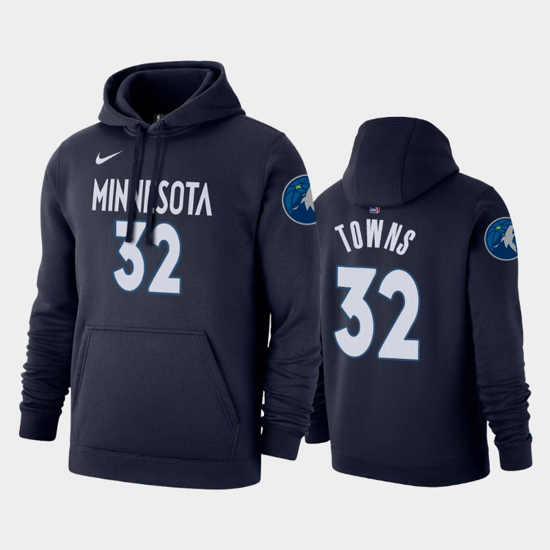Minnesota Timberwolves #32 Karl-Anthony Towns Icon Navy Name & Number Pullover Hoodie