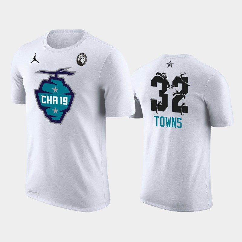 Karl-Anthony Towns Timberwolves White 2019 All-Star T-shirt - The Buzz Side Sweep