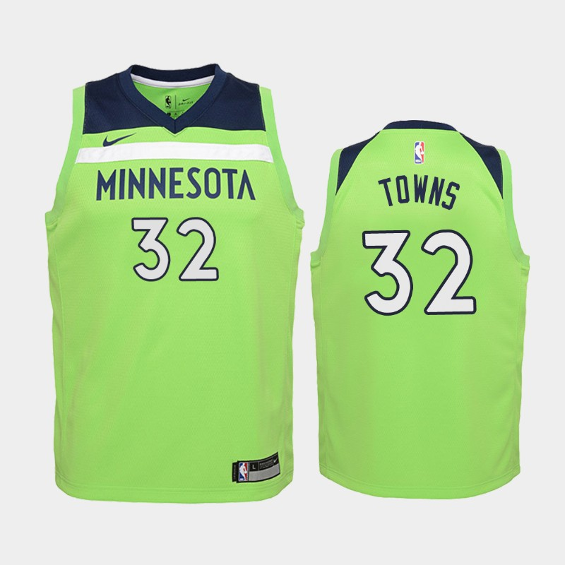 Youth Timberwolves Karl-Anthony Towns Green Jersey - Statement