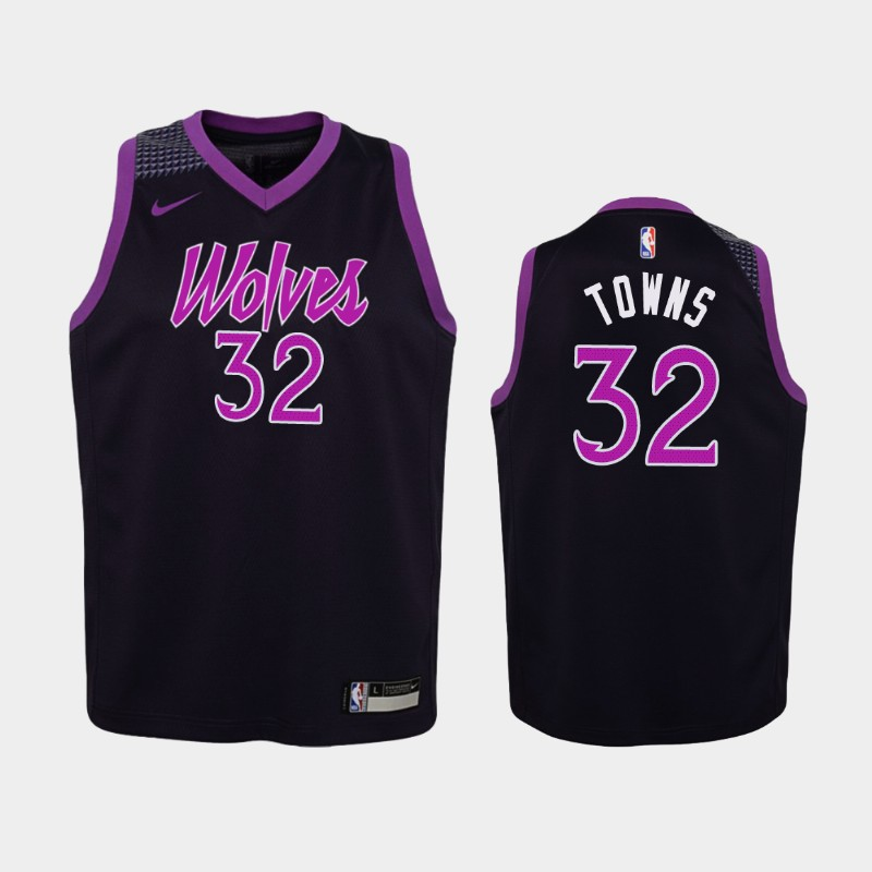 Youth Timberwolves Karl-Anthony Towns Purple Jersey - City