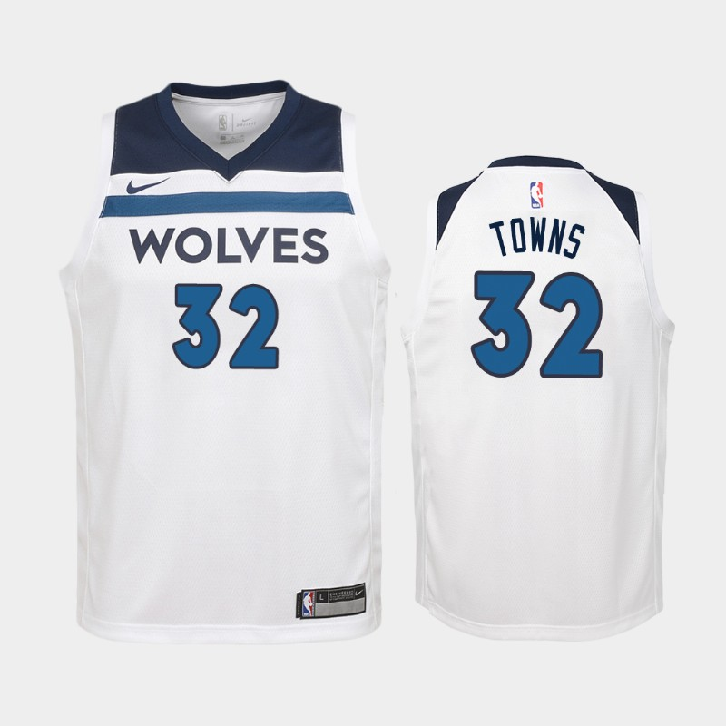 Youth Karl-Anthony Towns Minnesota Timberwolves White Association Jersey