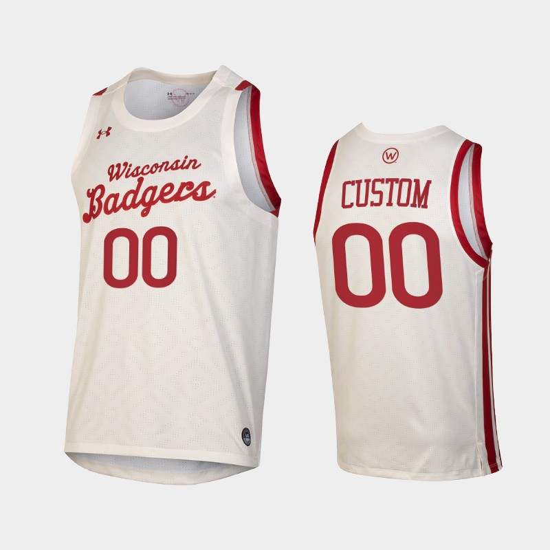 Custom Wisconsin Badgers 2021 Throwback College Basketball Jersey White