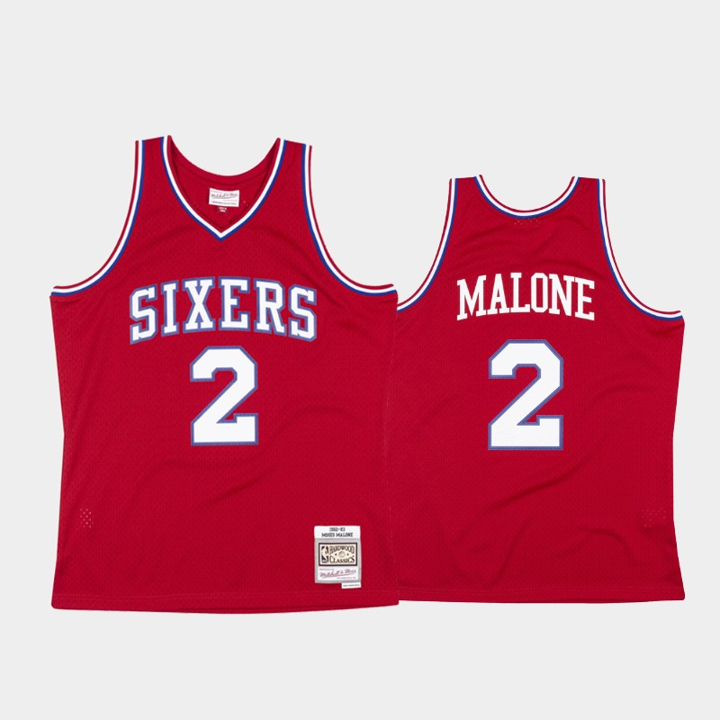 Philadelphia 76ers Moses Malone 1982-83 Hardwood Classics Red Authentic Jersey