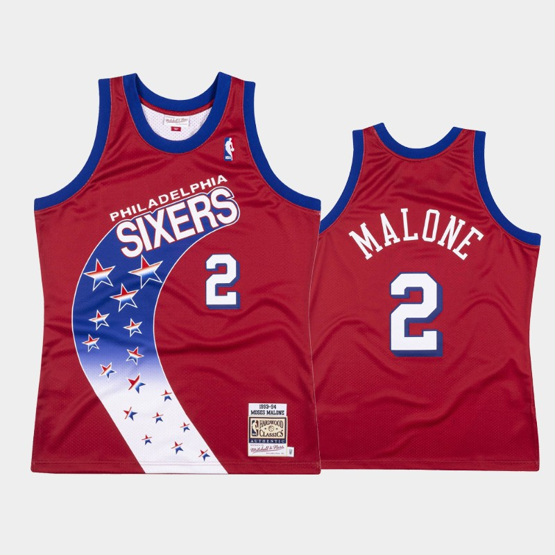 Philadelphia 76ers Moses Malone 1993-94 Hardwood Classics Red Authentic Jersey