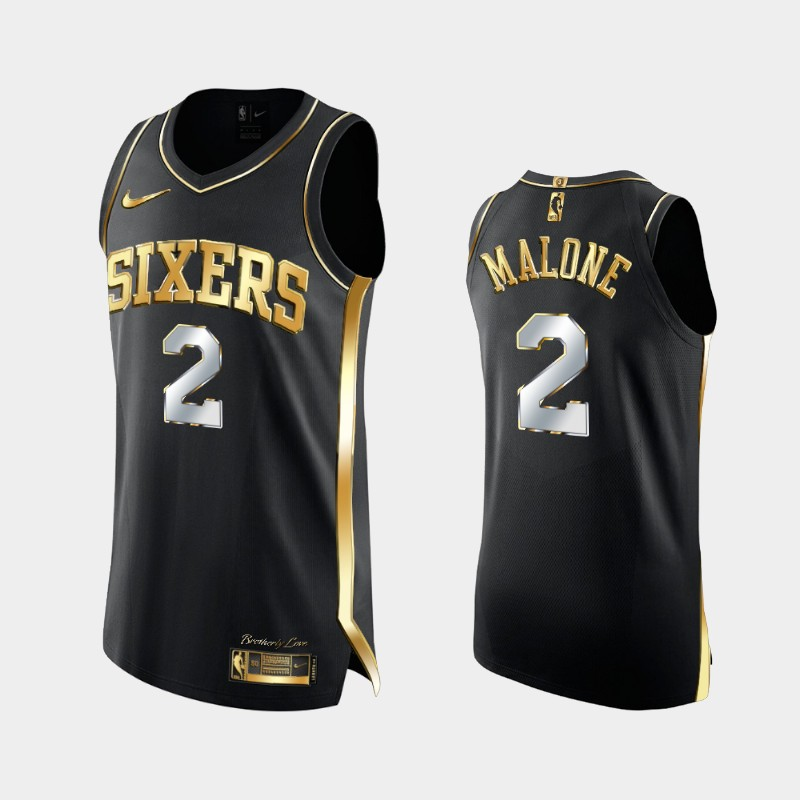 3X Champs Authentic Philadelphia 76ers Moses Malone Golden Edition Jersey - Black
