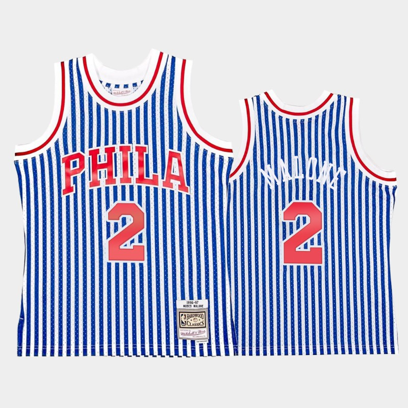 Moses Malone Philadelphia 76ers Striped HWC Jersey