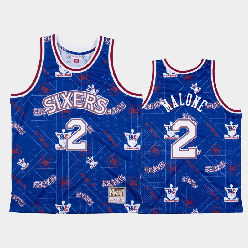 Moses Malone Philadelphia 76ers Tear Up Pack Blue Hardwood Classics Jersey