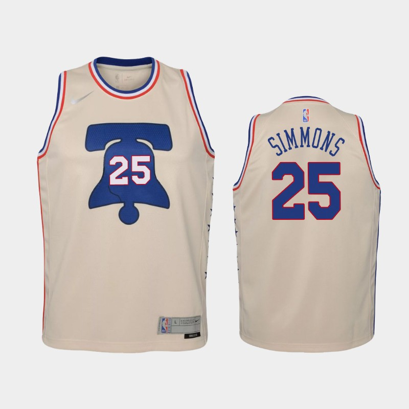 Youth 2021 76ers Ben Simmons Earned Cream Jersey