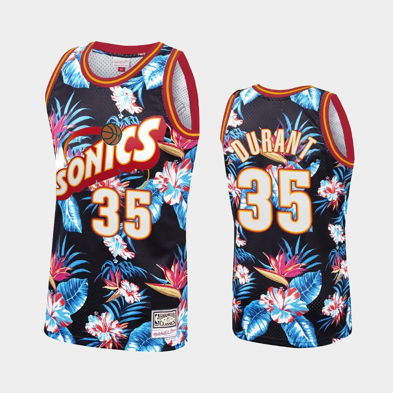 Kevin Durant Seattle SuperSonics Floral Fashion Summer Vibe Jersey Black