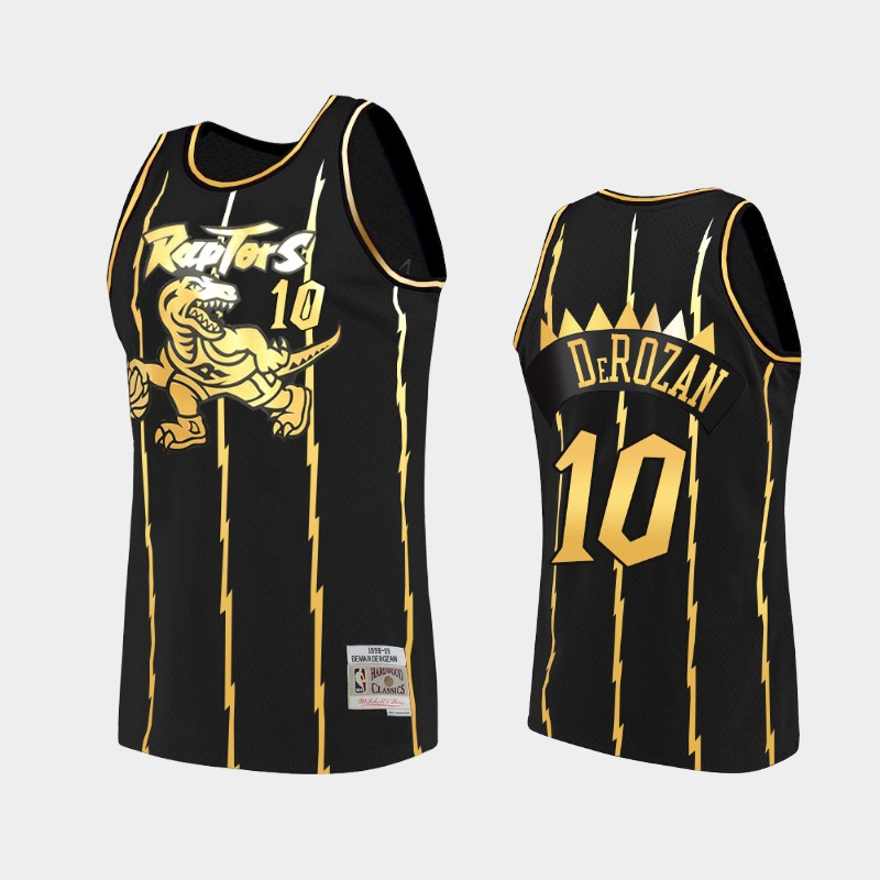 Toronto Raptors DeMar DeRozan 2021 Golden Edition Black Limited Allocation Hardwood Classics Jersey