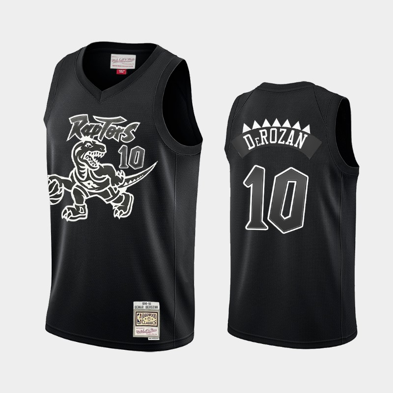 Toronto Raptors DeMar DeRozan Hardwood Classics Black White Logo Throwback Jersey