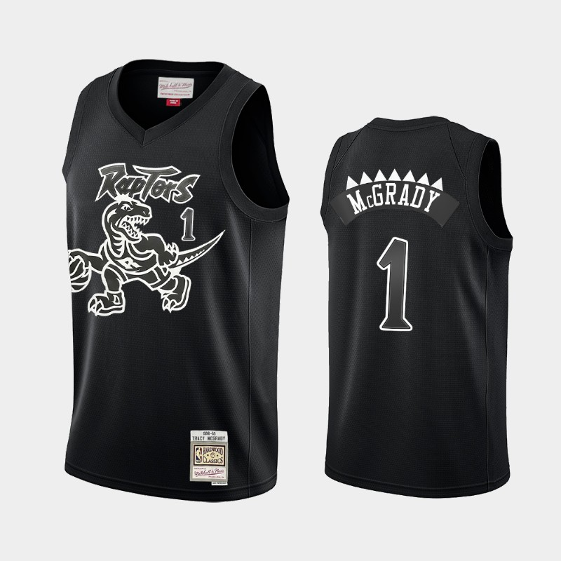 Toronto Raptors Tracy McGrady Hardwood Classics Black White Logo Throwback Jersey
