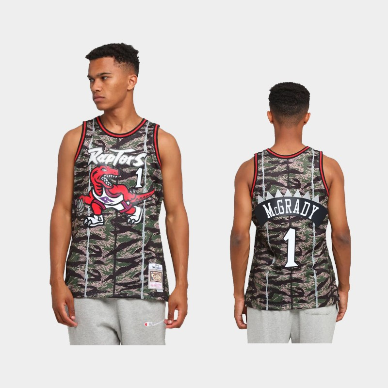 Toronto Raptors Tracy McGrady Tiger Camo Green Hardwood Classics Jersey