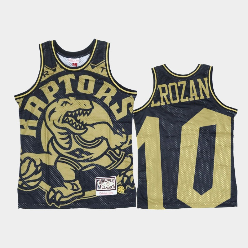 Raptors DeMar DeRozan Big Face Black Gold Hardwood Classics Jersey