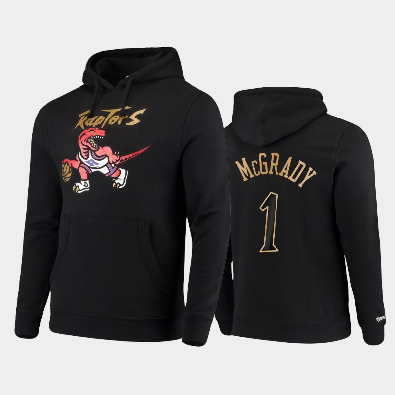 Toronto Raptors #1 Tracy McGrady Hardwood Classics Black Dribble Pullover Hoodie