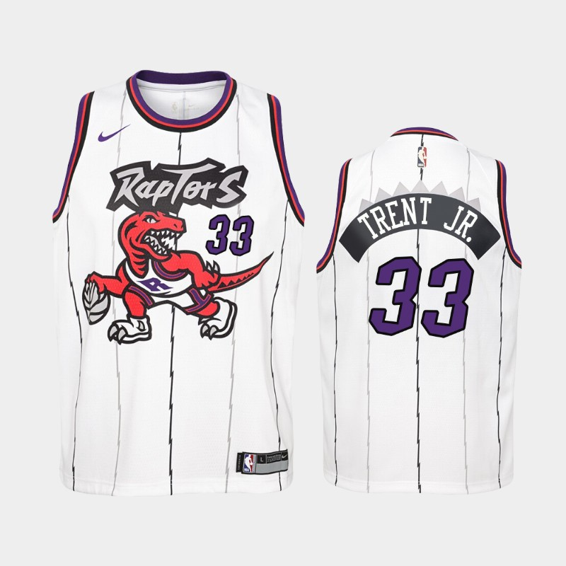 Youth Raptors Gary Trent Jr. Hardwood Classics White 2021 Trade Jersey
