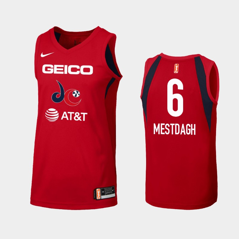 WNBA Washington Mystics Kim Mestdagh Red 2019 Primary Icon Jersey