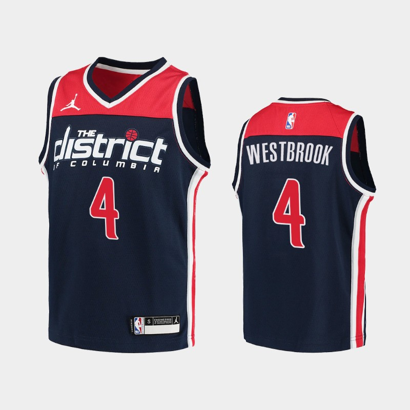 Youth 2020-21 Wizards Russell Westbrook Statement Navy 2020 Trade Jersey